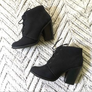 Black Canvas Heeled Lace-up Booties 7.5